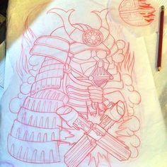 Samurai Vader! #sketch #darthvader #samurai #darkside #tattoo #tattooflash #tattquest #tattootheday #tattooworkers #the_inkmasters #tattoocollectors #tattooistartmagazine #tattoolifemagazine #inkedup #inkedguys #oldlines #superbtattoos #ntgallery #neotradsub #neotracional #neotradtattoo #neotraditional #crazytattoos #sith #starwars #starwarstattoo #empire