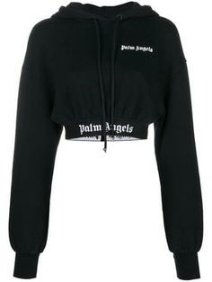 Palm Angels cropped logo hoodie Teenage Girl Outfits, Teen Fashion Outfits, Edgy Outfits, Swag Outfits, Cute Fashion, Bauchfreier Pullover, Elegantes Outfit, Cute Comfy Outfits, Aesthetic Clothes