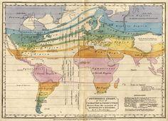 1823 isotherm map by Alexander von Humboldt