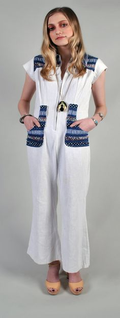 hold for Nicole** Cotton 2 tone romper Jumpsuit Gorgeous slight bell bottom cotton for comfort Vintage Jumpsuit, Grey Tee, Vintage Handbags, Bell Bottoms, 1970s, Zip Ups, Rompers, Trending Outfits, Cotton