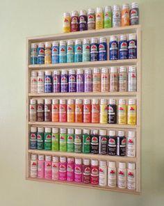 Craft paint rack paint storage arts and crafts acrylic Acrylic Paint Storage, Craft Paint Storage, Diy Storage, Paper Storage, Rangement Art, Craft Closet Organization, College Organization, Organization Ideas, Art Supplies Storage