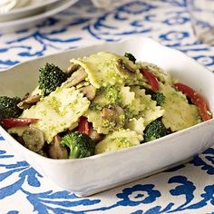 Since pasta, veggies, and pesto sauce can be eaten at any temperature -- even cold -- this meal can be enjoyed anywhere.