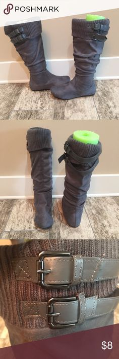 NWOT Rue21 Boots Rue21 gray boots with buckles. Never been worn Size- M (7-8) Shoes Winter & Rain Boots