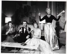 Greer Garson as Auntie Mame serving the Upsons a Flaming Mame. AUNTIE MAME 1957 Broadway.