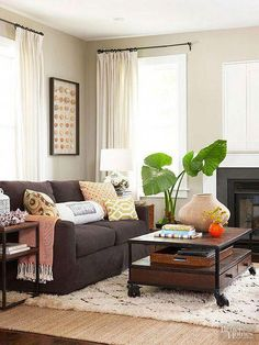 Living Room Design with Brown Furniture. Living Room Design with Brown Furniture. Furniture Ideas for An Elegant and Refined Living Room Living Room Decor Colors, Living Room Paint, New Living Room, Living Room Sofa, Living Room Designs, Small Living, Modern Living, Paint Couch, Minimalist Living