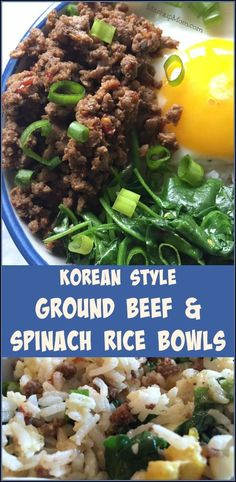 Korean Style Ground Beef & Spinach Rice Bowls -- This flavorful, budget-friendly, all-in-one, 30-minute meal idea uses just one pound of ground beef to feed four (when bulked up with the rice, eggs, and spinach). Try this easy weeknight dinner recipe for a fresh take on ground beef! | MashupMom.com