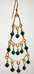3 Tier Beaded Earrings Jewelry Making Project made with Emerald Swarovski Beads