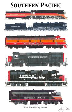 6 hand draw Southern Pacific engine drawings by Andy Fletcher