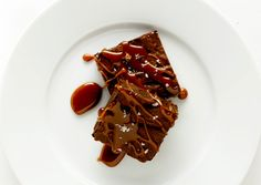 Brownies with Salted Caramel Sauce - Bon Appétit
