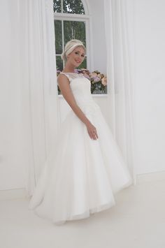 Jewel - Breath-taking sleeveless high low wedding dress with embroidered  spotty tulle and lace applique 458684349805
