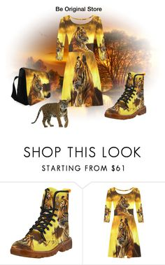 Tiger and Sunset 3/4 sleeve dress, crossbody bag, Martin boots. Design by #erikakaisersot visit #beoriginalstore https://www.beoriginalstore.com/collections/tiger-and-sunset-1
