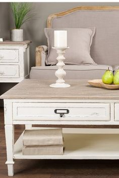 Dauphine White/Light Brown Traditional French Accent Coffee Table
