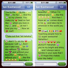 Chachi: Hehehhe I love making his mornings by letting him wake up to my random love! This takes skill! Hahahah why isn't my iMessage working tho :/ hahah oh well I can deal with the green bubbles for a while hahah. But yes I super love doing this for my boyfriend to make him happy and letting him know I super love him! Hehehe. Sleepy random lover. @ian_eastwood    Me: AWWW you and Ian are sooo cute!!!! :)