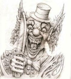Evil Clown Tattoos, Wicked Tattoos, Skull Tattoos, Sleeve Tattoos, Tattoo Sketches, Tattoo Drawings, Drawing Sketches, Le Clown, Creepy Clown