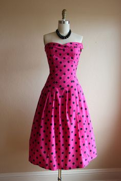 OMG if this was sleeveless instead of strapless, I'D BE IN HEAVEN!! 1950s Dress Vintage 50s Dress Hot Pink Polka Dots by jumblelaya