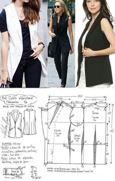 Easy Sewing Patterns, Coat Patterns, Clothing Patterns, Dress Patterns, Fashion Sewing, Diy Fashion, Ideias Fashion, Fashion Outfits, Moda Fashion