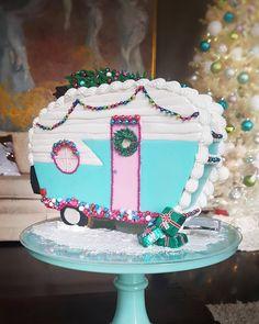 Likes, 711 Comments - Lindsay Last Christmas, Pink Christmas, Cupcake Cakes, Cupcakes, Cookie House, Cake Designs, Aqua, Turquoise, Cake Stuff
