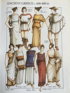 Traditional Greek dress c. Ancient Greek Dress, Ancient Greece Clothing, Ancient Roman Clothing, Ancient Greece Fashion, Greek Clothing, Ancient Greek Costumes, Historical Costume, Historical Clothing, Greek Fashion