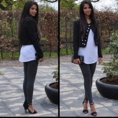 Nice look -can be accomplished with leggings or jeans, almost any long white shirt and casual cropped jacket