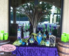 Peacock Purple Green Turquoise Wedding Candy Buffet Candy Bar Candy Table
