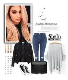 """""""SheIn 9/II"""" by nermina-okanovic ❤ liked on Polyvore featuring Envi, Justin Bieber, Zizzi, Topshop and Converse"""