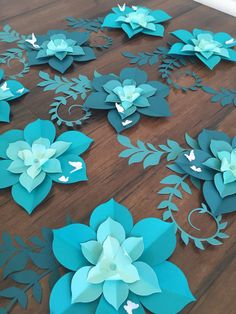 Small Paper Flower Ombre Succulents Paper Flower Favor Tags
