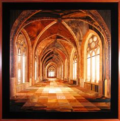 """Inlaid wood wall art, """"Nottingham Castle"""" for more info on Kalman Radvanyi visit: www.lahainagalleries.com / call 949-721-9117 or email us at lgi@maui.net"""