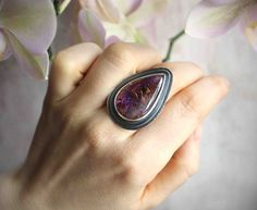 Amethyst Cacoxenite Statement Ring  Size 7.5  by LaFreeBoheme