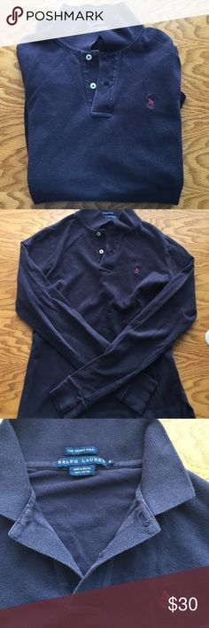 Ralph Lauren Long Sleeve Polo- Navy The Skinny polo long sleeve, 100% cotton. Perfect for those winter days! This shirt is very comfortable and in great condition. Ralph Lauren Tops