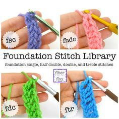 Crochet Stitches Design Fiber Flux: Chainless Foundation Stitch Library - We've been learning all about foundation stitches for the past few weeks.here is the complete collection! Learning and practicing th. Crochet Stitches Patterns, Stitch Patterns, Knitting Patterns, Free Knitting, Knitting Needles, Crochet Basics, Crochet For Beginners, Crochet Crafts, Crochet Yarn