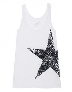 JUVIA Star Print Tank White