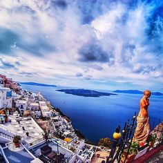 Amazing beauty of Santorini island (Σαντορίνη) ❤️. Perfectly white & blue with stunning view.