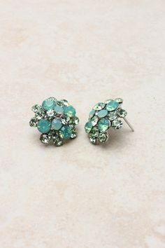 Minty Crystal Cluster Earrings
