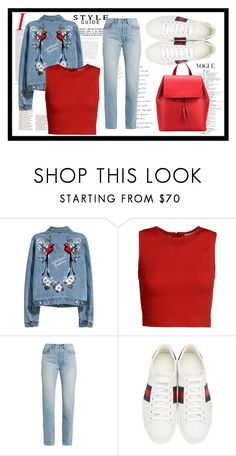 """""""red red denim"""" by salmamakarian on Polyvore featuring mode, Alice + Olivia, Yves Saint Laurent, Gucci et Aesther Ekme"""