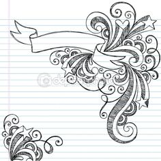 Sketchy Doodle Scroll Banner and Stars Vector — Stock Vector #8693670