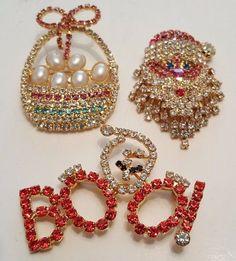 Holiday RHINESTONE Brooches lot of 3 OTC Santa Easter Halloween Christmas #vintage #jewelry #ebay #christmas #halloween #easter