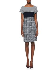 Textured Tweed Knit Cap-Sleeve Dress, Navy/Cream by St. John Collection at Neiman Marcus.