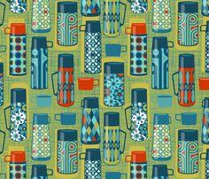 Retro drink flasks fabric by cjldesigns on Spoonflower - custom fabric Vintage Tupperware, Fabulous Fabrics, Retro Christmas, Surface Design, Surface Pattern, Pattern Books, Designer Wallpaper, Custom Fabric, Spoonflower