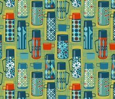 Retro drink flasks fabric by cjldesigns on Spoonflower - custom fabric