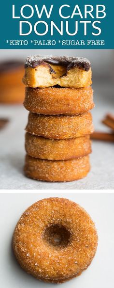 Keto Donuts Keto Donuts – the perfect low carb donuts to curb that classic fried cinnamon sugar donut craving just like the local fair or carnival. Best of all, this healthy recipe is baked & so easy to make. A delicious breakfast, snack or dessert that's Sugar Free Desserts, Sugar Free Recipes, Donut Recipes, Low Carb Desserts, Low Carb Recipes, Snack Recipes, Dessert Recipes, Dessert Blog, Desert Recipes