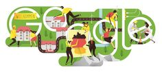 illustration by Anton Hallmann +++ Google doodle for Oct 3rd, German national holiday+++ found on www.sepia-illustration.de