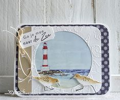 Cards made by Wybrich: Marianne Design challenge 225 Tiny Boat, Dog Background, Marianne Design Cards, Nautical Cards, Folder Design, Album, Last Call, Embossing Folder, Lighthouse