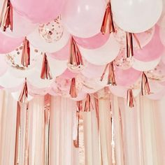 Blush, White and Rose Gold Ceiling Balloons With Tassels – The Original Party Bag Company