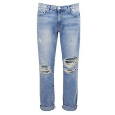 Current/Elliott Women's The Fling Boyfriend Fit Jeans - Point Break... ($190) ❤ liked on Polyvore featuring jeans, blue, ripped jeans, distressing jeans, boyfriend fit jeans, current elliott jeans and destroyed jeans