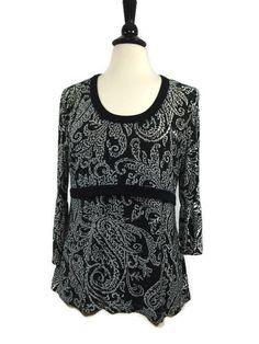 RAFAELLA Size L Large Womens Black White Bell Sleeve Top Blouse Shirt LaLangston #Rafaella #Blouse #Career