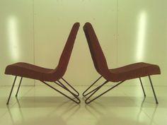 Pair Mid Century Modern Hairpin Wicker Scoop Chairs Eames Era Retro Vtg Patio   eBay