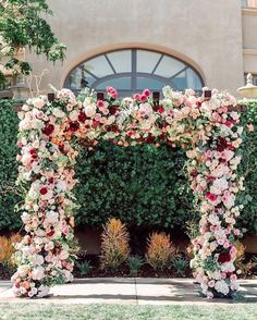 27 Lush Floral Wedding Arches That Impress a lush floral wedding arch with creamy, pink and burgundy blooms i ideal for summer or fall. Wedding Ceremony Arch, Wedding Altars, Wedding Venues, Wedding Arches, Outdoor Ceremony, Rustic Wedding, Purple Wedding, Spring Wedding, Wedding Colors