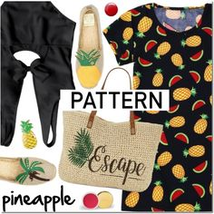 Pineapple pattern by mada-malureanu on Polyvore featuring moda, Tory Burch, Straw Studios, Topshop, dress, swimsuit, pineapple, zaful and dressunder100