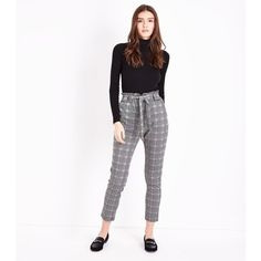 Cameo Rose Grey Prince of Wales Check Paperbag Waist Trousers (£20) ❤ liked on Polyvore featuring pants, light grey, paperbag pants, side pocket pants, workwear pants, workwear trousers and gray pants
