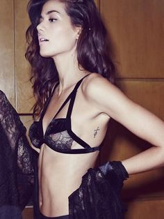 For Love & Lemons Skivvies Long Line Bondage Bralette in Black